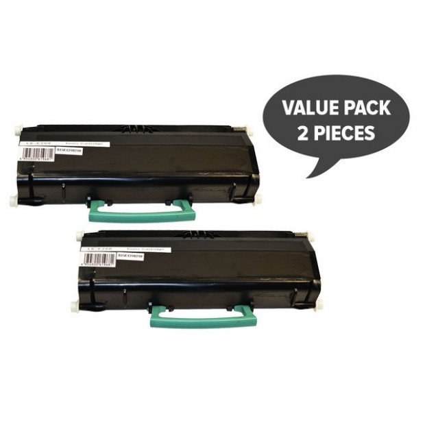 Suit Lexmark. 2 x E260 Black Generic Toner Cartridge