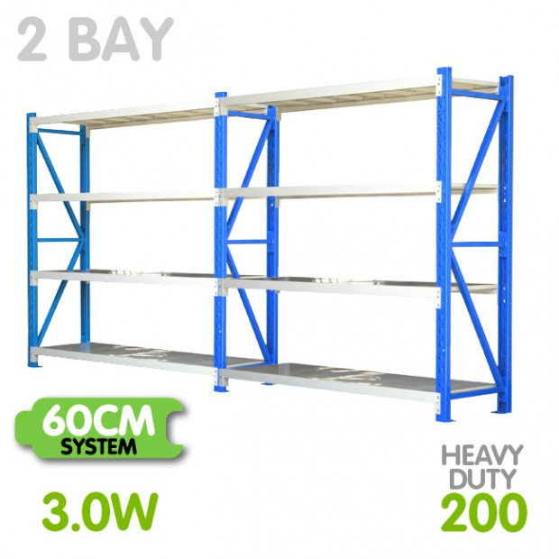 2-Bay shelving 3m-wide 800kg
