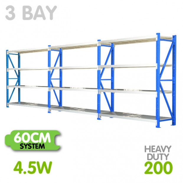 3-Bay shelving 4.5m-wide 800kg