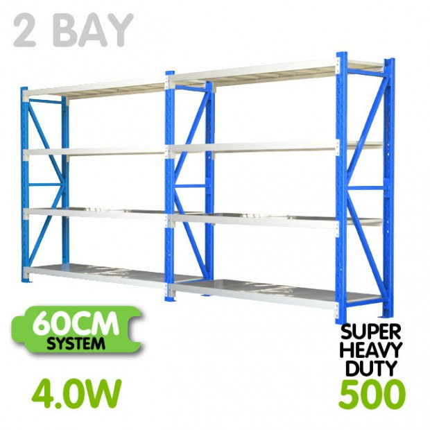 2-Bay shelving 4m-wide 2000kg