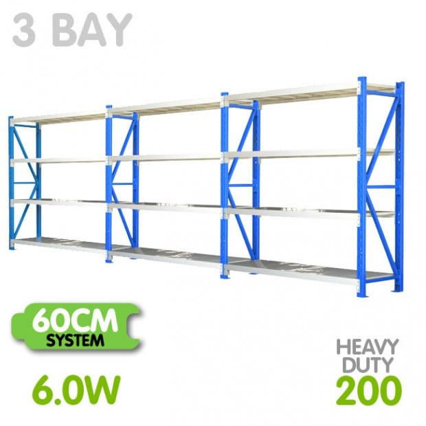 3-Bay shelving 6m-wide 800kg