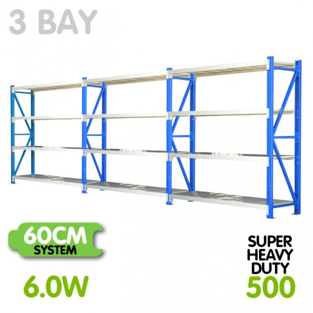 3-Bay shelving 6m-wide 2000kg