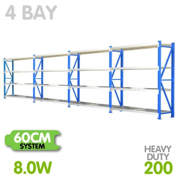 4-Bay shelving 8m-wide 800kg
