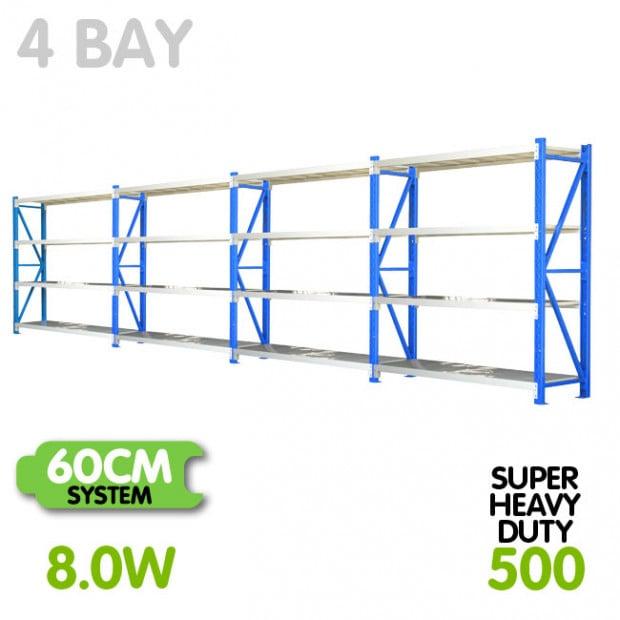 4-Bay shelving 8m-wide 2000kg