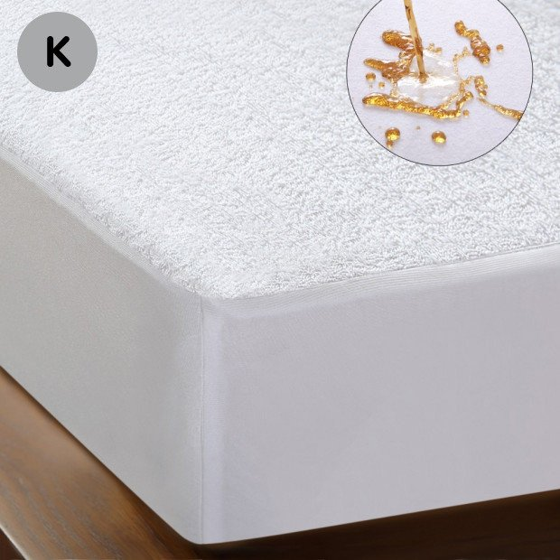 Luxury Terry Cotton Mattress Protector White King
