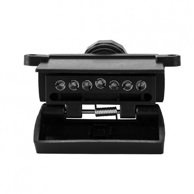 7 Pin Female Flat Socket  Fit Rectangle Caravan Boat Adapter Black