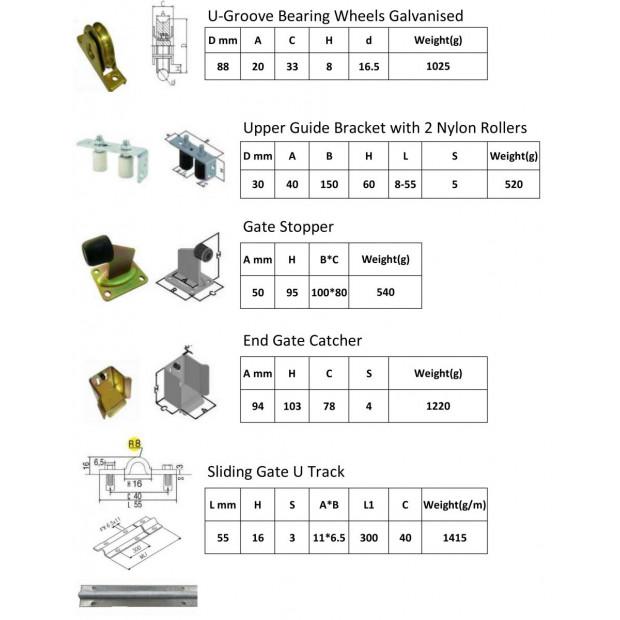 Sliding Gate Hardware Accessories- 6m Track, Wheels, Stopper, Roller Image 1
