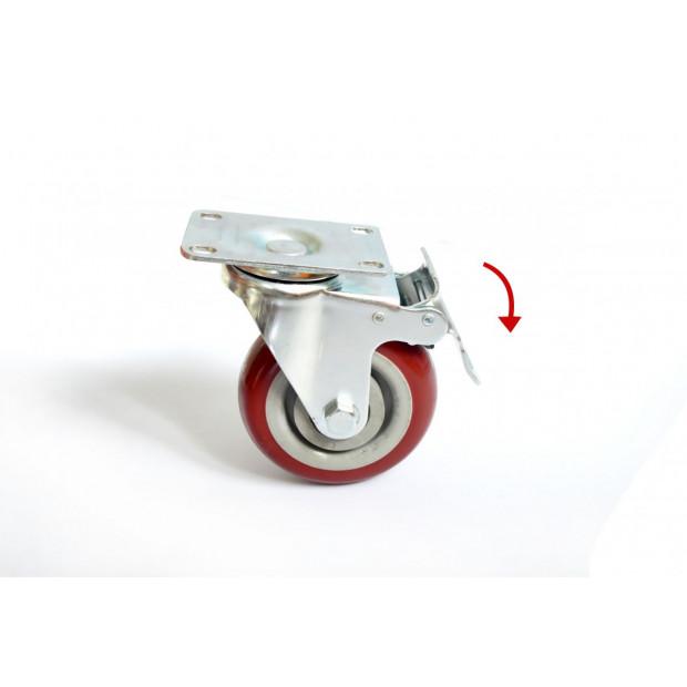 4 X 4 inch Heavy Duty Pu Swivel Castor Wheels With Brake Image 1