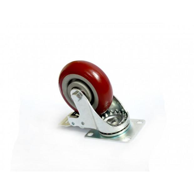 4 X 4 inch Heavy Duty Pu Swivel Castor Wheels With Brake Image 2