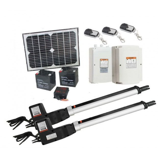 1000kg 10w Solar Double Swing Auto Motor Remote Gate Opener Image 1