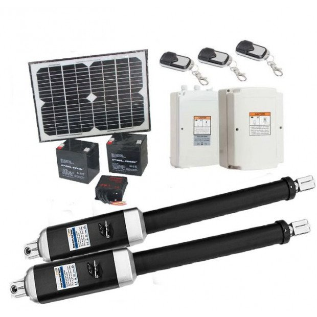 1200kg 10w Solar Double Swing Auto Motor Remote Gate Opener Image 1