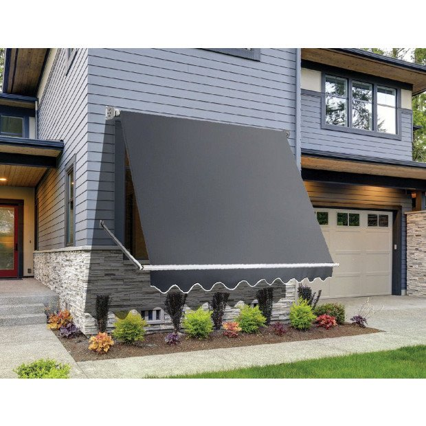 Retractable Fixed Pivot Arm Window Awning Garden 2.4m X 2.1m Grey