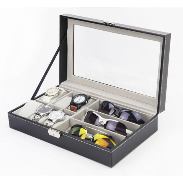 6+3 Grid Watch Sunglass Eyeglasses Display Box Case Storage Pu Leather