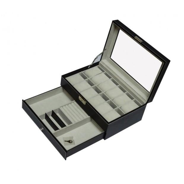 12 Grids Watch Display Case Leather Jewellery Storage Box  Lock Key