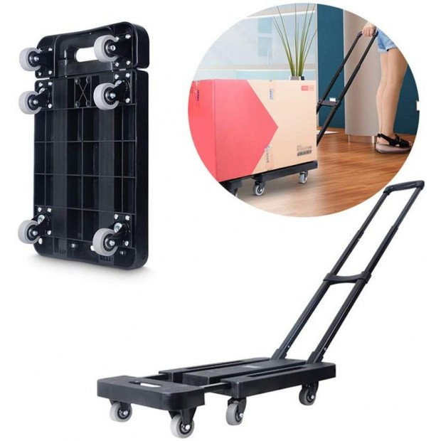 Foldable Hand Flatbed Trolley Cart 6 X 360 Degree Rotating Wheels Image 1
