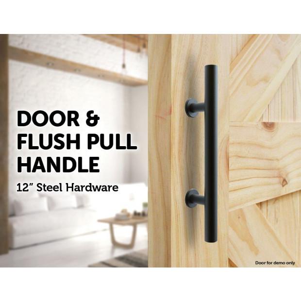 Carbon Steel Door Handle & Flush Pull Wood Door Gate Hardware 12 Inch Image 1