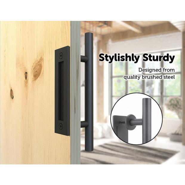 Carbon Steel Door Handle & Flush Pull Wood Door Gate Hardware 12 Inch Image 2