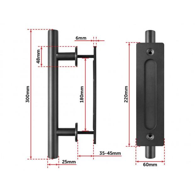 Carbon Steel Door Handle & Flush Pull Wood Door Gate Hardware 12 Inch Image 5