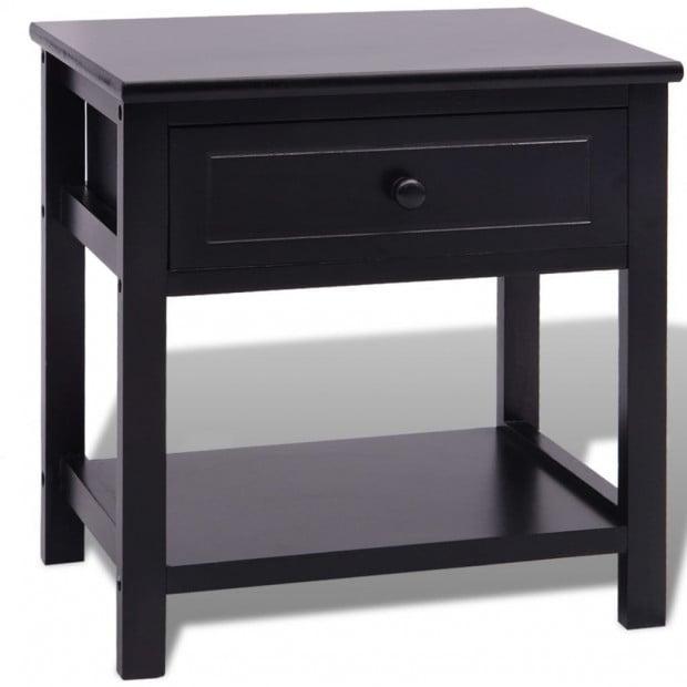 Bedside Cabinet Wood Black