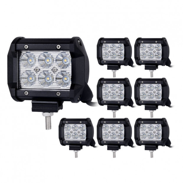 8pcs 4inch CREE LED Work Light Bar Flood Beam  Save On 35W/45W Reverse