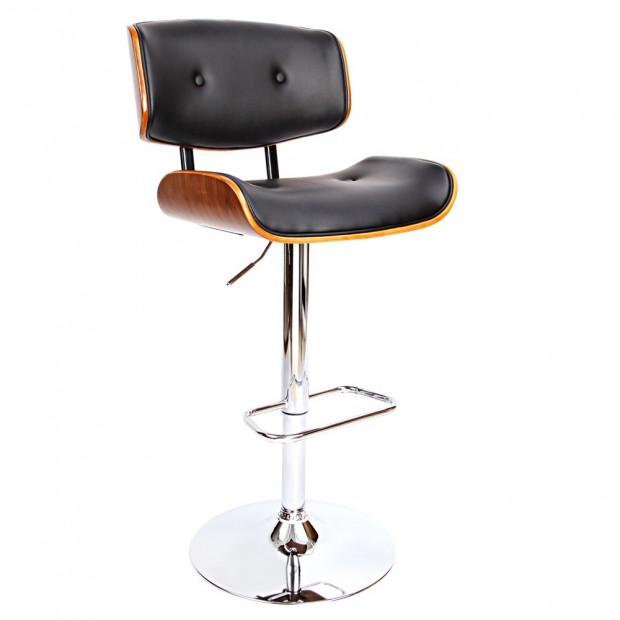 Sleek Wooden Barstool with Chrome Base