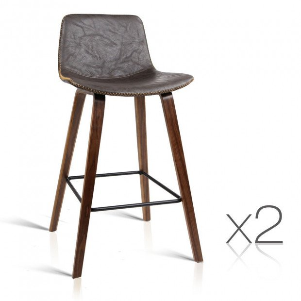 Set of 2 Wooden Bar Stool Faux Leather Padded Seat- Walnut
