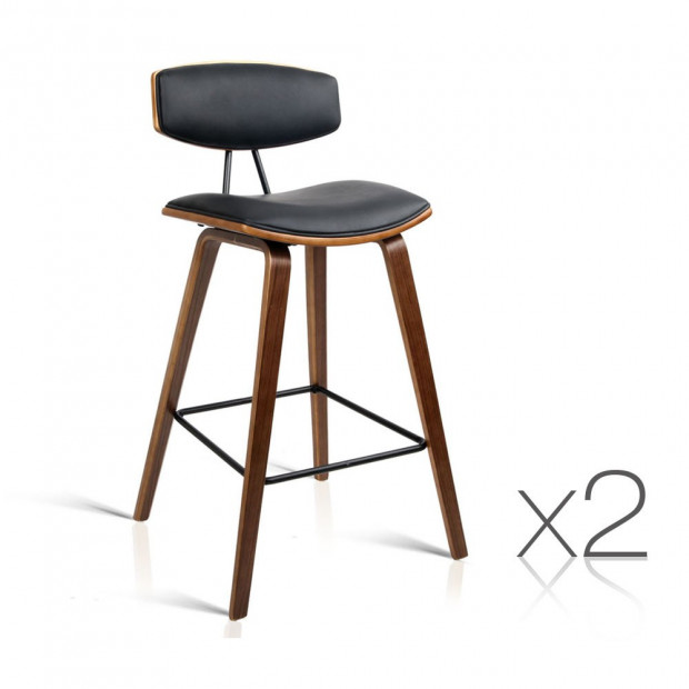 Set of 2 Faux Leather Wooden Bar Stool with Metal Footrest - Black