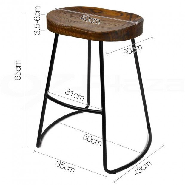 Set of 2 Steel Barstools with Wooden Seat 65cm Image 10