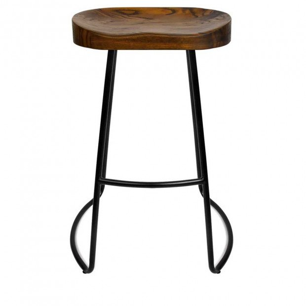 Set of 2 Steel Barstools with Wooden Seat 65cm Image 9