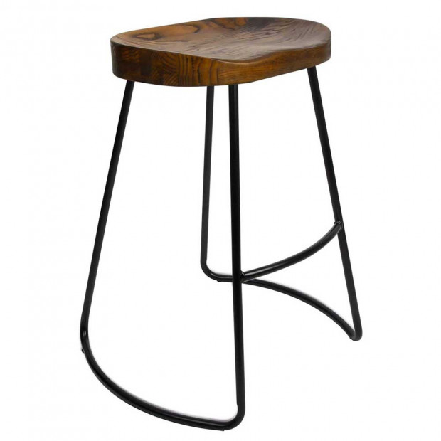 Set of 2 Steel Barstools with Wooden Seat 65cm Image 8
