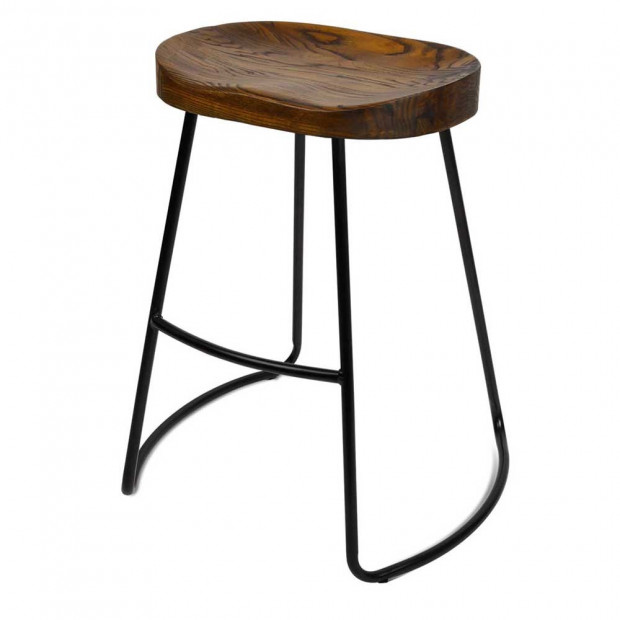 Set of 2 Steel Barstools with Wooden Seat 65cm Image 7