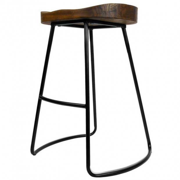 Set of 2 Steel Barstools with Wooden Seat 65cm Image 6