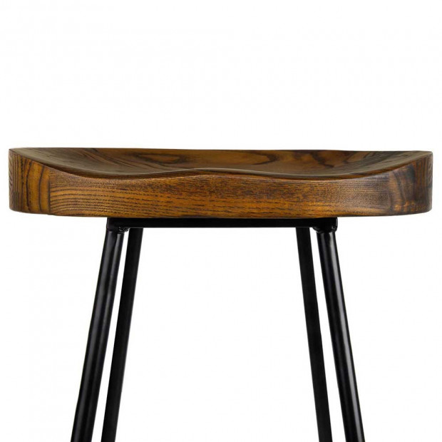 Set of 2 Steel Barstools with Wooden Seat 65cm Image 4