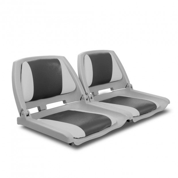 Set of 2 Swivel Folding Marine Boat Seats Grey Charcoal - 52cm