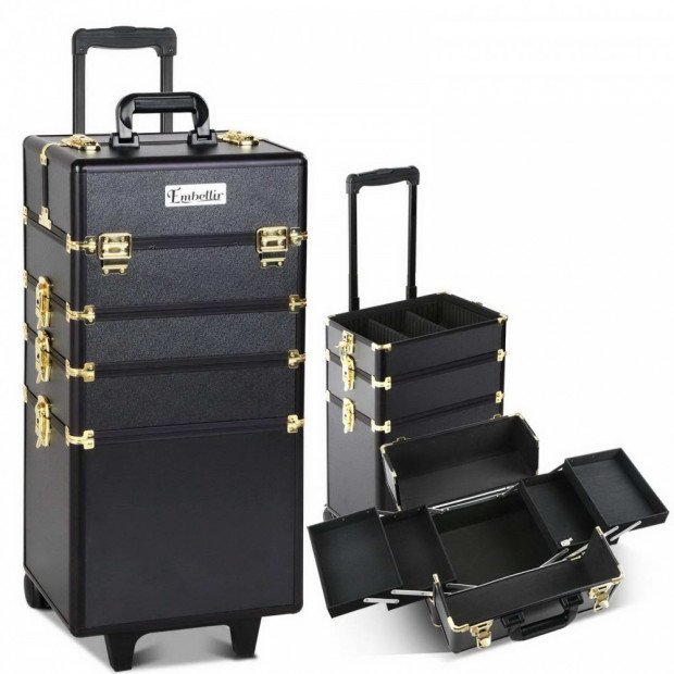 7 in 1 Make Up Cosmetic Beauty Case - Black & Gold