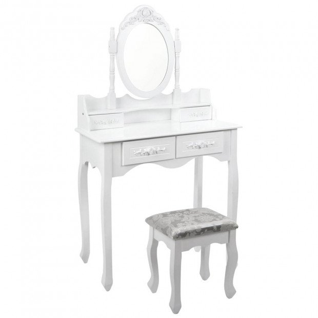 4 Drawer Dressing Table with 360d Rotation Mirror - White