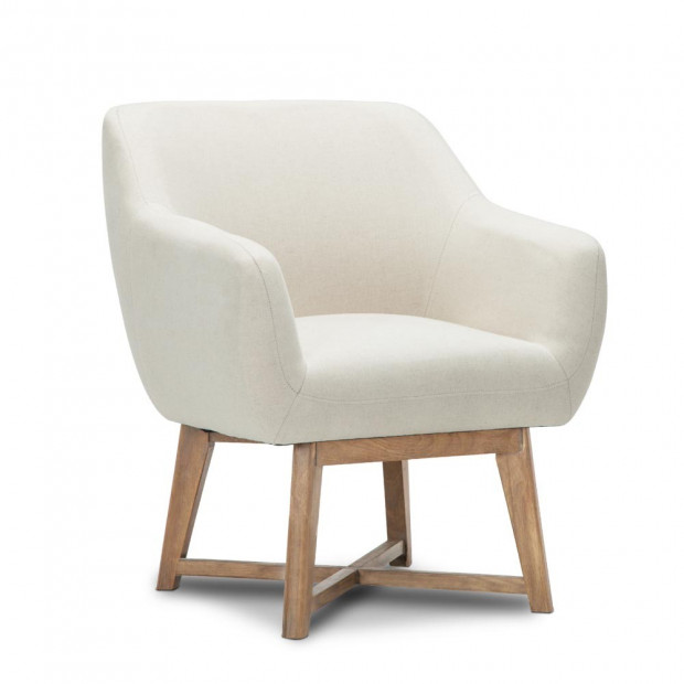 Fabric Tub Lounge Armchair - Beige