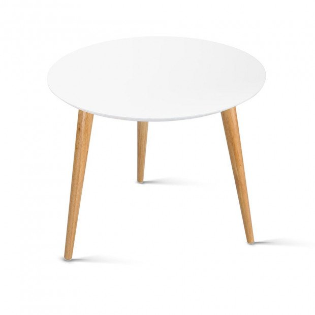 Round Side Coffee Lamp Table - White