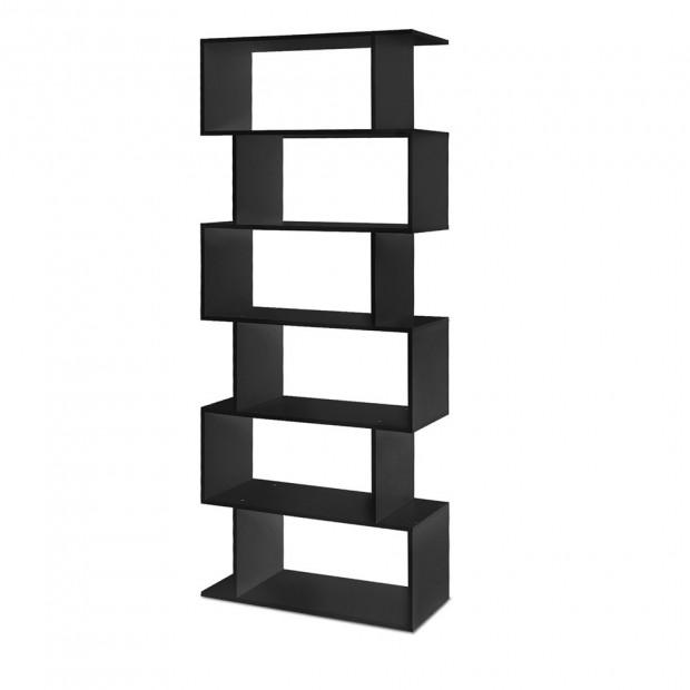 6 Tier Display Book Storage Shelf - Black