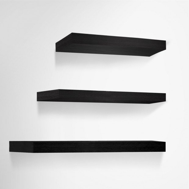3 pcs Wall Floating Shelf Set Bookshelf Display Black