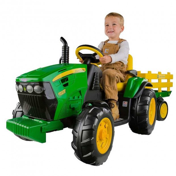John Deere Kids Ride On 12V Ground Force Tractor with Trailer