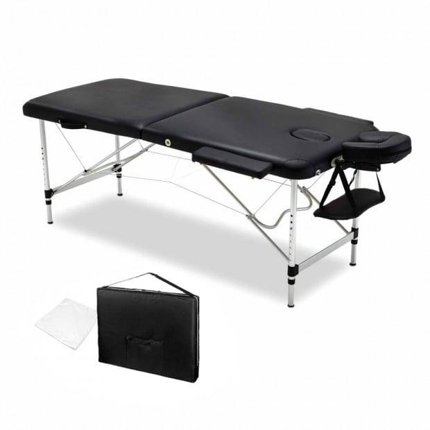 75cm Professional Aluminium Portable Massage Table - Black