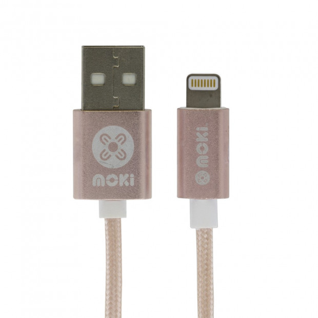 Moki King Size Braided Lightning Sync Charge Cable-3m/10ft Rose Gold