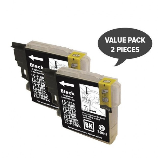 2x Black Compatible Inkjet Cartridge to Suit Brother LC38 LC67