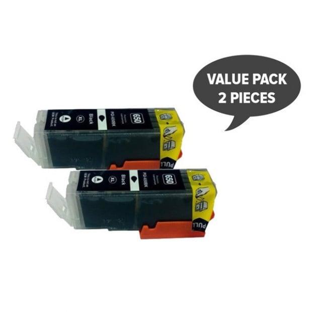 2x Pigment Black Cartridge to Suit Canon PGI-650XL