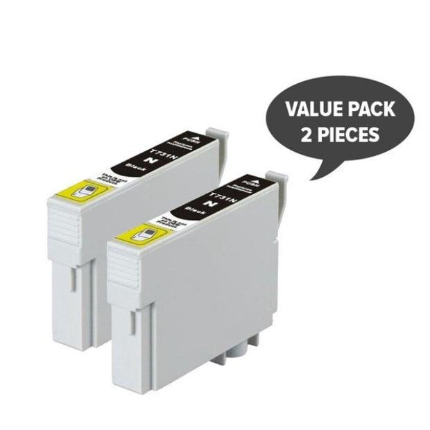 2x Pigment Black Inkjet Cartridge to suit Epson 73N / T0731