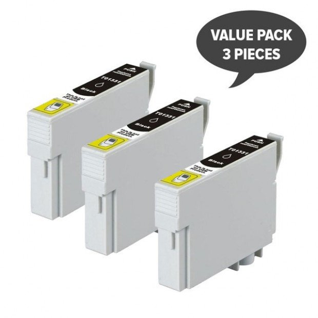 3x Pigment Black Inkjet Cartridge to suit Epson T1331 (133)