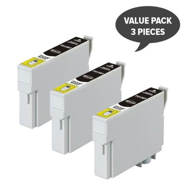 3x Pigment Black Inkjet Cartridge to suit Epson T1381 (138)