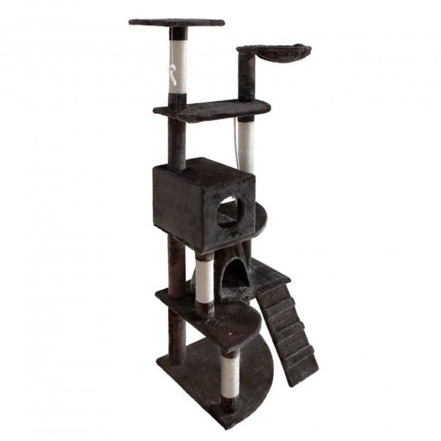 Multi Level Cat Scratching Poles Tree w/ Ladder Grey