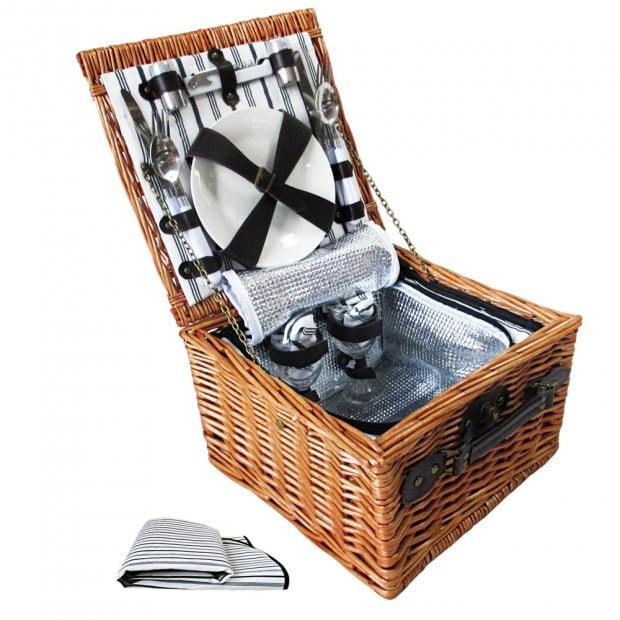 2 Person Picnic Basket Set with Cooler Bag Blanket